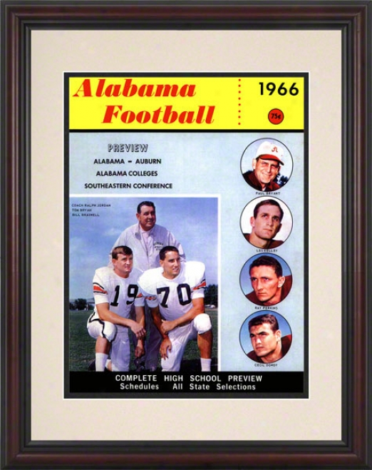 1966 Alabama Bryant Vs. Shug 8.5 X 11 Framed Historic Football Print