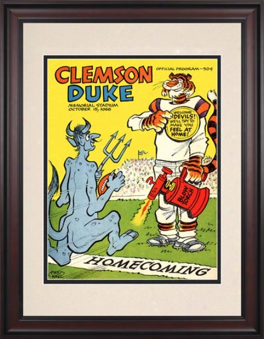 1966 Clemson Tigers Vs. Duke Blue Devils 10.5x14 Framed Historic Football Print