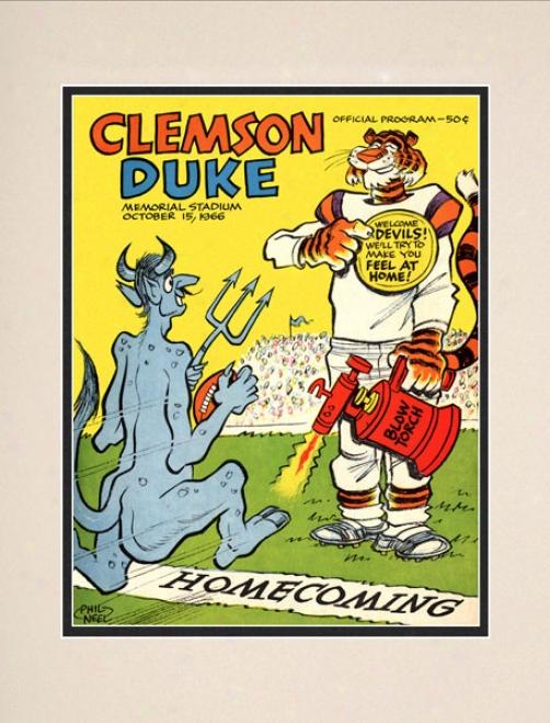 1966 Clemson Tigers Vs. Duke Blue Devils 10.5x14 Matted Historic Football Print