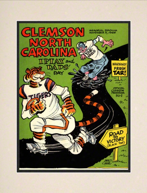 1966 Clemson Vs. Noth Carolina 10.5x14 Matted Historic Football Print