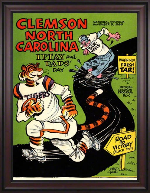 1966 Clemson Vs. Noth Carolina 36 X 48 Framed Canvas Historic Football Impress