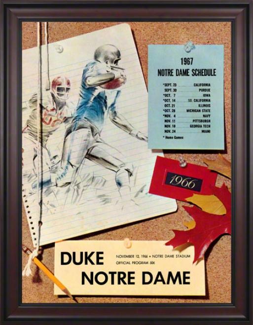 1966 Notre Dame Fightjng Irish Vs Duke Blue Devils 36 X 48 Framed Canvas Historic Football Poster