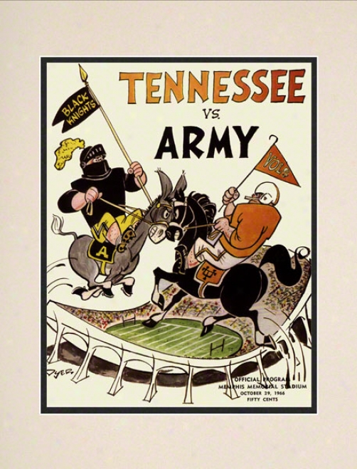 1966 Tennessee Vs. Army 10.5x14 Matted Historic Footbball Impression