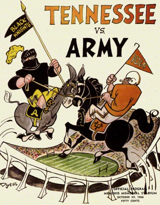 1966 Tennessee Vs. Army 22 X 30 Canvas Historic Football Print