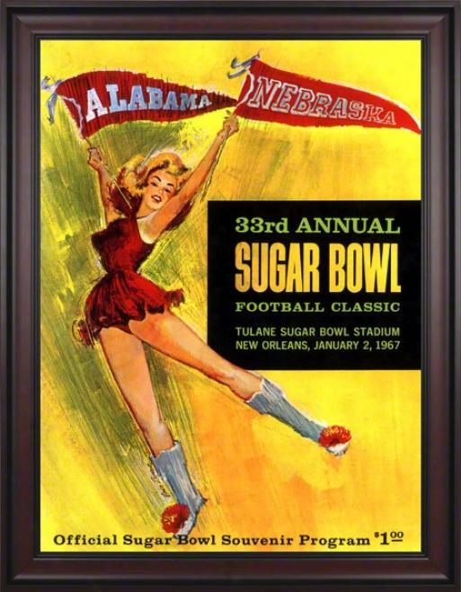 1967 Alabama Vs. Nebraska 36 X 48 Framed Canvas Historic Football Print