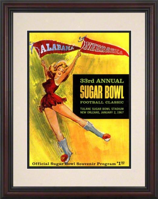 1967 Alabama Vs. Nbraska 8.5 X 11 Framed Historic Football Mark