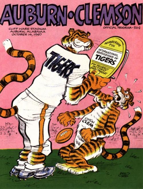 1967 Auburn Tigers Vs. Clemson Tigers 36 X 48 Canvas Historic Football Print