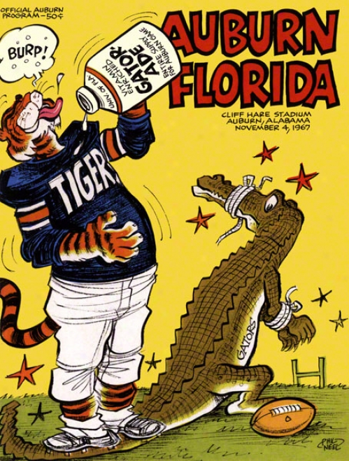 1967 Auburn Vs. Florida 22 X 30 Canvas Historic Football Print