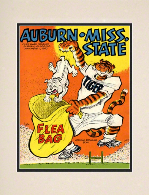 1967 Auburn Vs. Mississippi State 10.5x14 Matted Historic Football Print