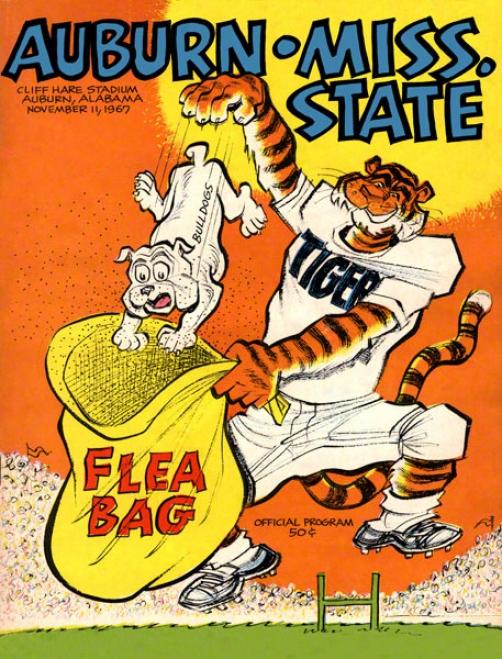 1967 Auburn Vs. Mississippi State 22 X 30 Canvas Historic Football Print