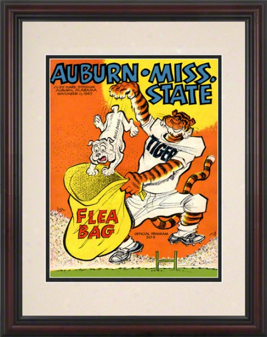 1967 Auburn Vs. Mississippi State 8.5 X 11 Framed Historic Football Print