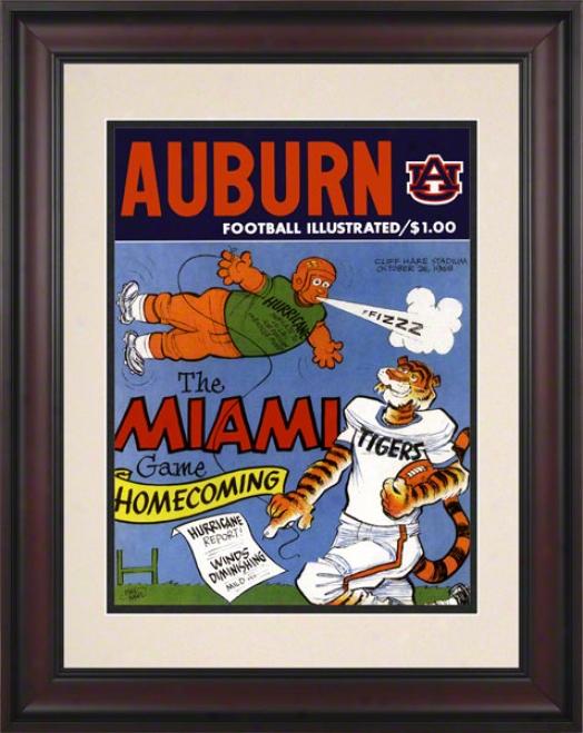 1968 Auburn Vs. Miami 10.5x14 Framed Historic Football Print