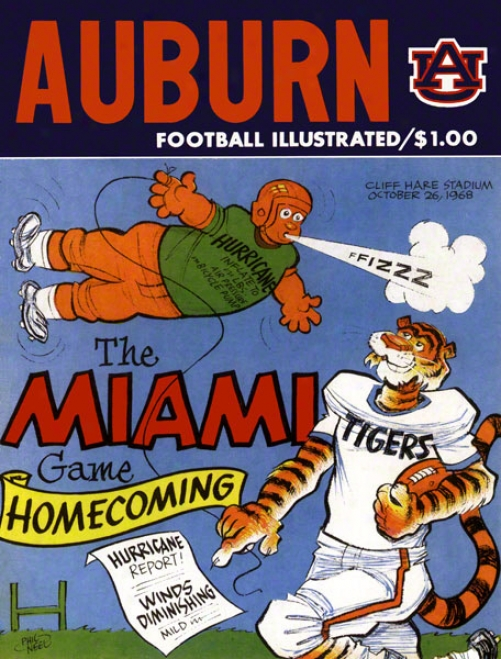 1968 Auburn Vs. Miami 22 X 30 Canfas Historic Football Print