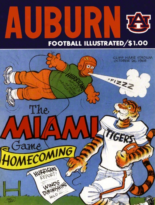 1968 Auburn Vs. Miami 36 X 48 Canvas Historic Football Print