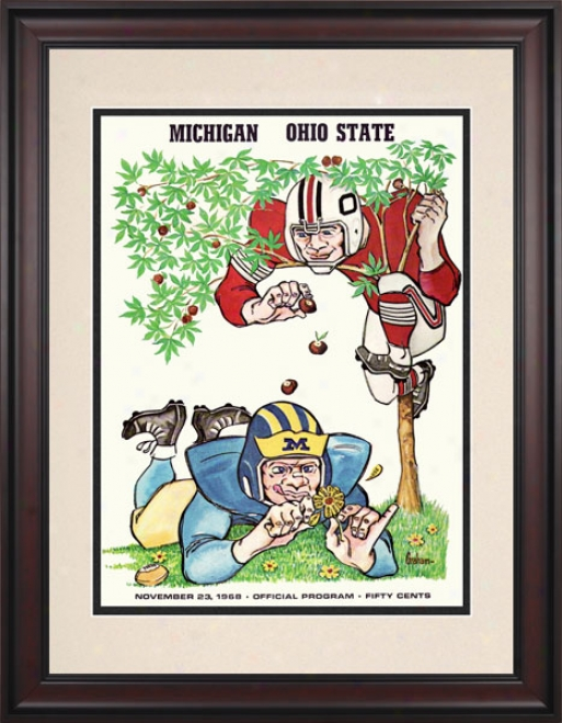 1968 Ohio State Buckeyes Vs. Michigan Wolverines 10.5x14 Framec Historic Football Print