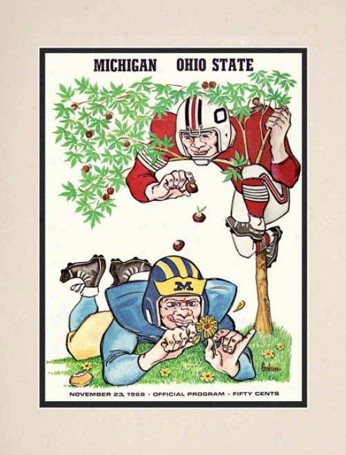 1968 Ohio State Buckeyes Vs. Michigan Wolverines 10.5x14 Matted Historic Football Printt