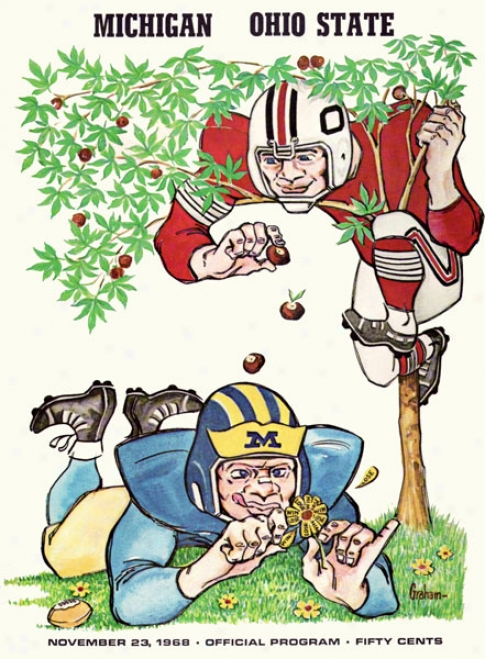 1968 Ohio State Buckeyes Vs. Michugan Wolverines 36 X 48 Canvas Historic Football Print