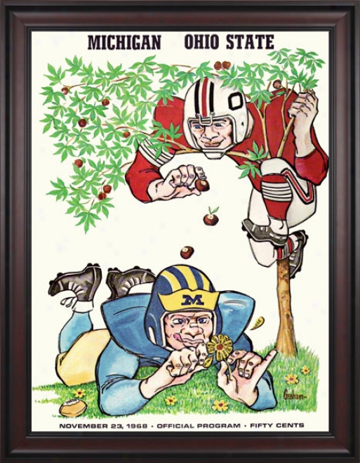 1968 Ohio Pomp Buckeyes Vs. Michigan Wolverines 36 X 48 Framed Canvas Historic Football Print