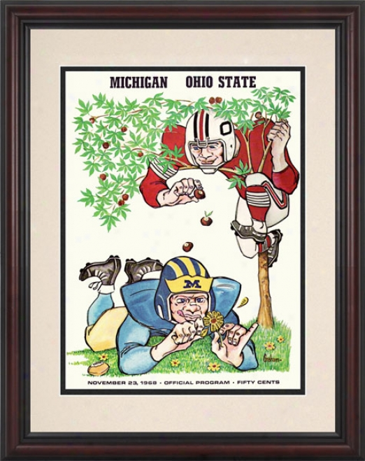 1958 Ohio State Buckeyes Vs. Michigan Wolverines 8.5 X 11 Framed Historic Football Print
