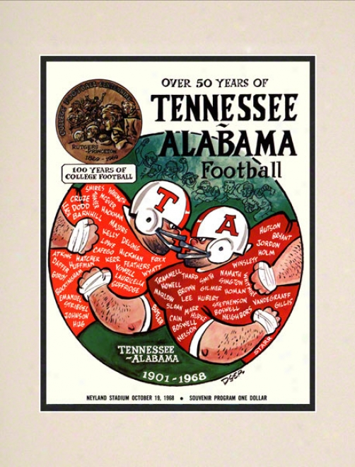 1968 Tenneese Vs Alabama 10 1/2 X 14 Matted Historic Football Poster