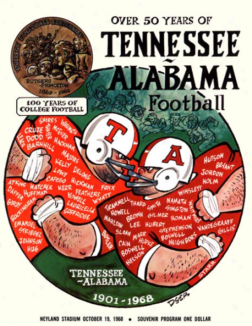 1968 Tennessee Vs Alabama 36 X 48 Canvas Historic Fooyball Poster