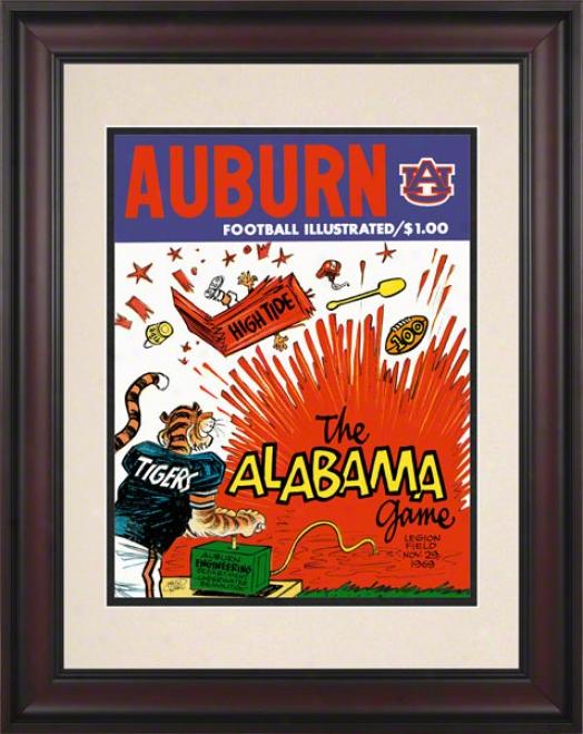 1969 Auburn Vs. Alabama 10.5x14 Framed Historic Football Print