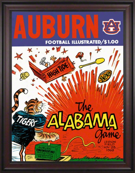 1969 Auburn Vs. Alabama 36 X 48 Framed Canvas Historic Football Print