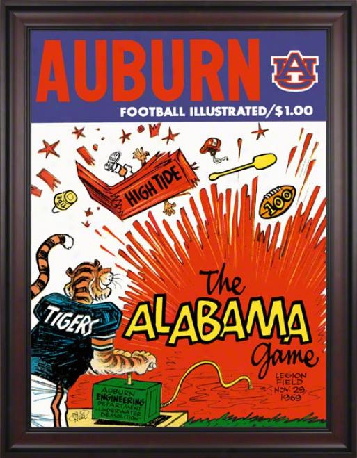 1969 Auburn Vs. Alabama 36 X 48 Framed Canvas Historic Football Print
