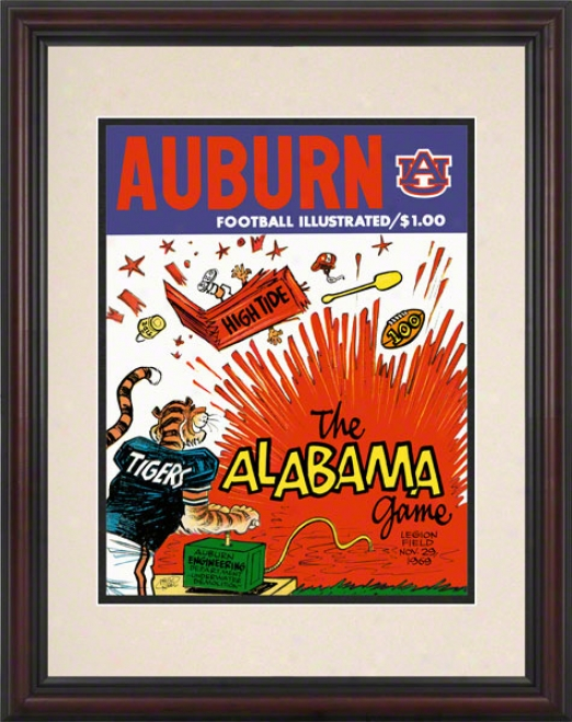 1969 Auburn Vs. Alabama 8.5 X 11 Framed Historic Football Print