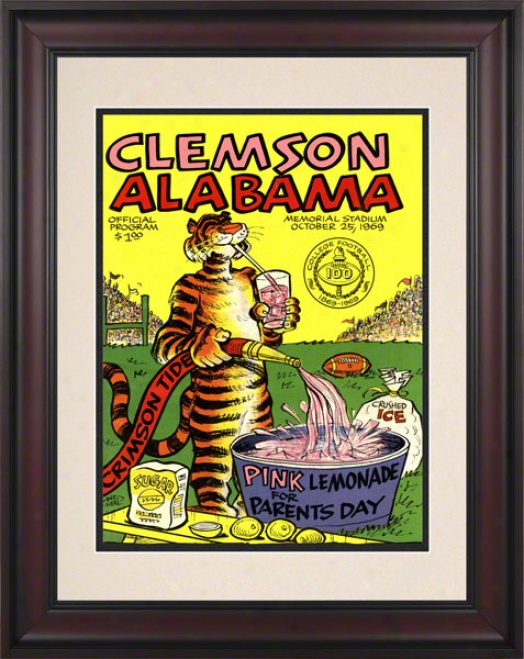 1969 Clemson Vs. Alabama 10.5x14 Framed Historic Football Print
