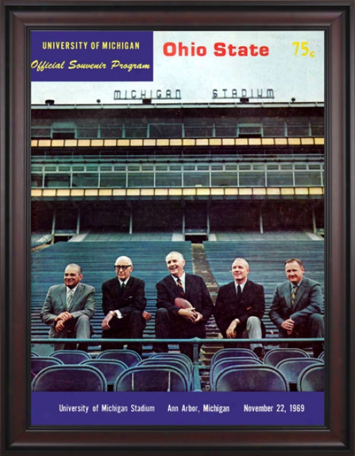 1969 Michigan Wolverines Vs. Ohio State Buckeyes 36 X 48 Framed Canvas Historic Football Print