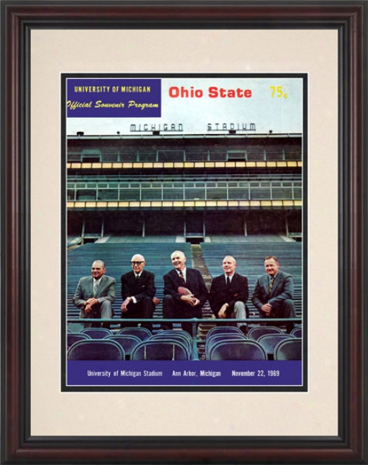 1969 Michigan Wolverines Vs. Ohio State Buckeyes 8.5 X 11 Framed Historic Football Print