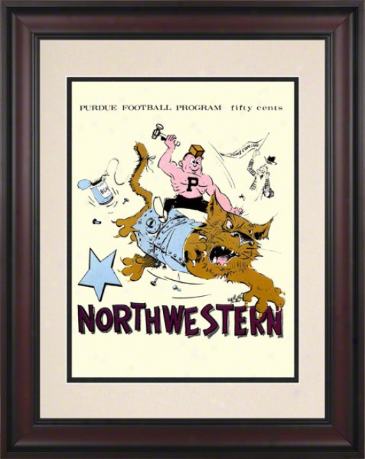 1969 Purdue Vs. Northwestern 10.5x14 Framed Historic Football Print