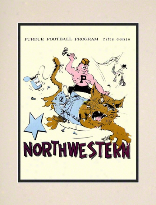 1869 Purdue Vs. Northwestern 10.5x14 Matted Historic Football Print
