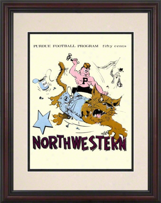 1969 Purdue Vs. Northwestern 8.5 X 11 Framed Historic Football Print