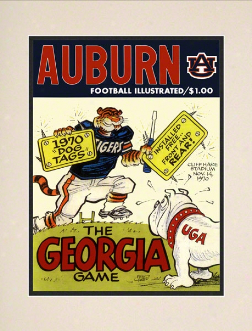 1970 Auburn Vs. Georgia 10.5x14 Matted Historic Football Print