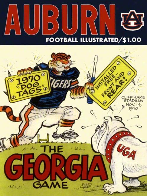 1970 Auburn Vs. Georgia 22 X 30 Canvas Historic Football Print