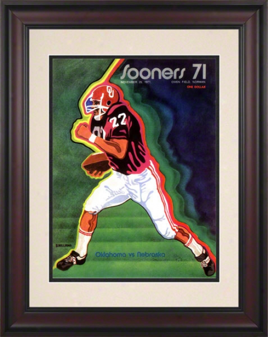 1971 Oklahoma Vs Nebraska 10.5x14 Framed Historic Football Print