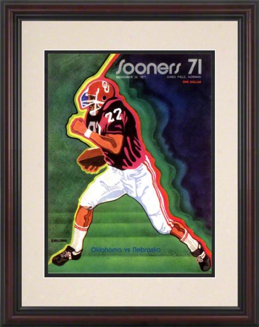1971 Oklahoma Vs Nebraska 8.5 X 11 Framed Historic Football Print