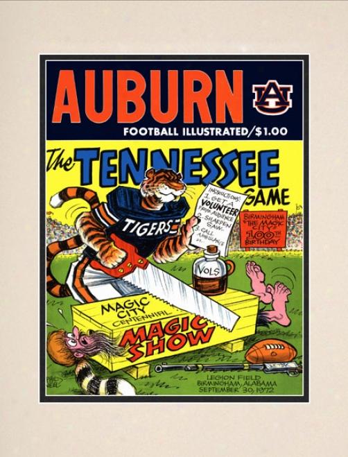 1972 Auburn Tigers Vs. Tennessee Volunteers 10.5x14 Matted Historic Footbaall Print
