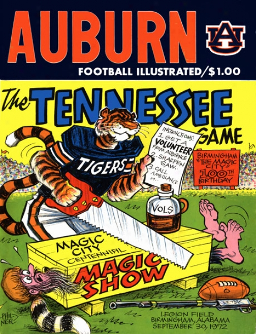 1972 Auburn Tigers Vs. Tennessee Volunteers 22 X 30 Canvas Historic Football Print