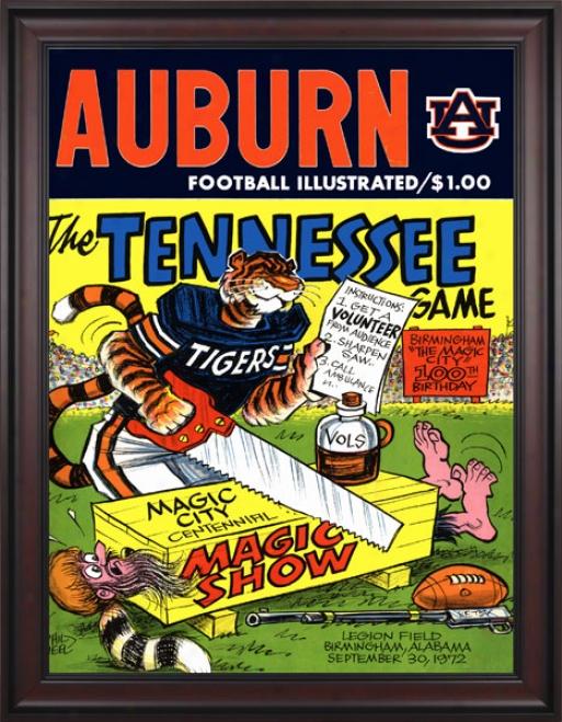 1972 Auburn Tigers Vs. Tennessee Volunteers 36 X 48 Framed Canvas Historic Football Print
