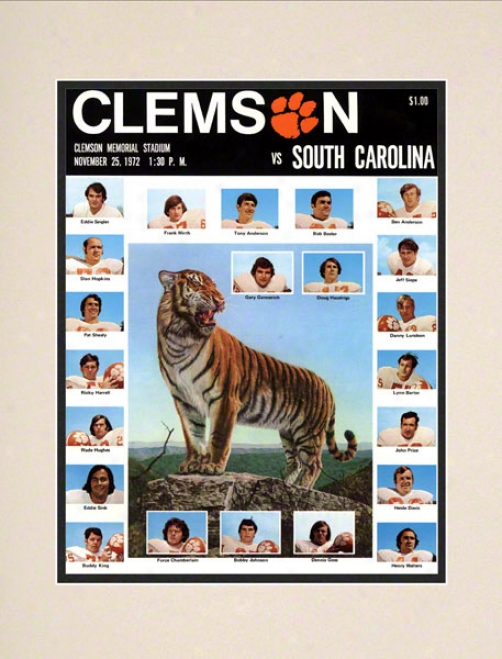 1972 Clemson Vs. South Carolina 10.5x14 Matted Historic Football Print