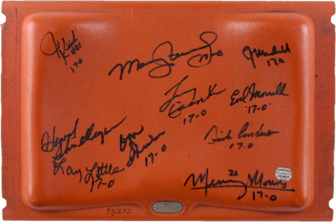 1972 Miami Dolphins Autographed Orange Bowl Seat With 10 Signatures