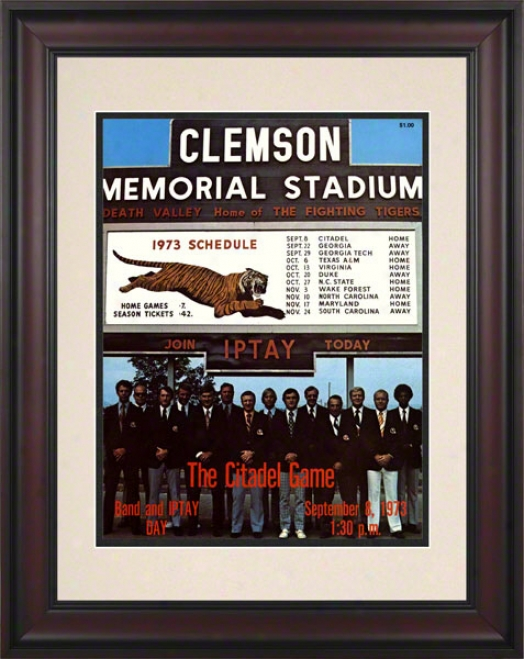 1973 Clemson Vs. Citadel 10.5x14 Framed Historic Football Print