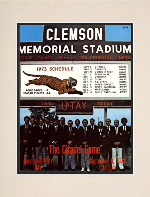 1973 Clemson Vs. Ctadel 10.5x14 Matted Historic Football Impress