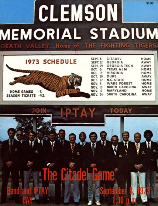 1973 Clemson Vs. Citadel 22 X 30 Canvas Historic Football Print