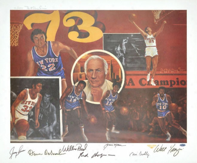 1973 New York Knicks Autographed Championship Lithograph With Seven Hall Of Fame Signatures - Le Of 1973