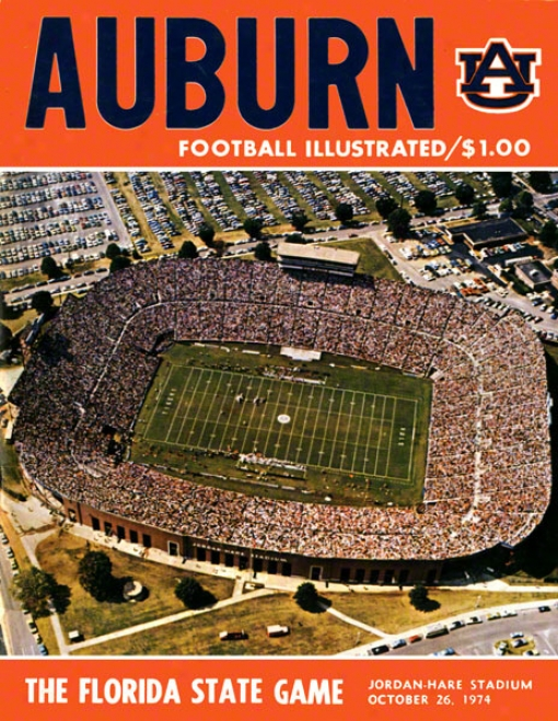 1974 Auburn Vs. Florida State 36 X 48 Canvas Historic Football Print