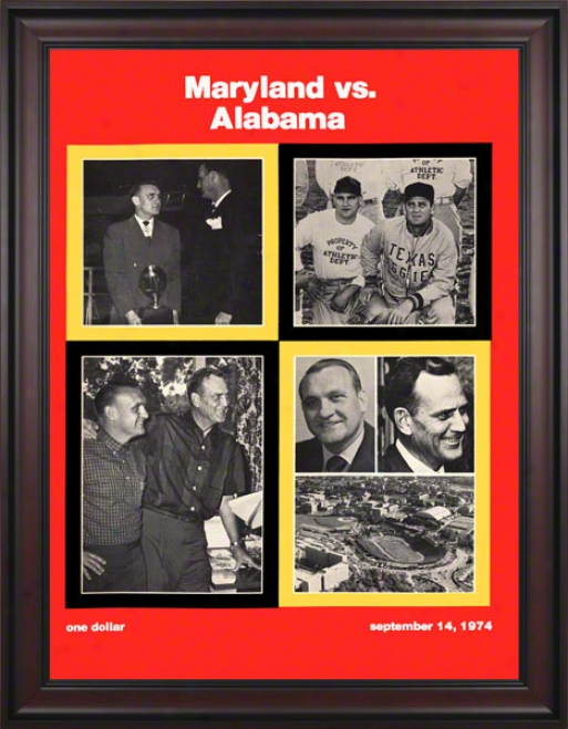 1974 Maryland Vs. Alabzma 36 X 48 Framed Canvas Historic Football Print